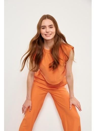 Setre Oranj Yüksek Bel Pantolon Vatkalı Crop Top Takım Oranj
